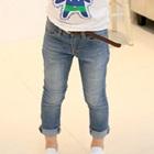 กางเกงยีนส์ขายาวสีฟ้าพร้อมเข็มขัด-(5-ตัว/pack)