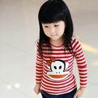 เสื้อแขนยาวลายขวางลิงยิ้ม-สีแดง-(5size/pack)