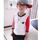 เสื้อแขนยาวเด็ก-แขนสีแดง-(5size/pack)