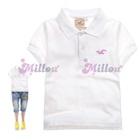เสื้อโปโลแขนสั้นนกสีชมพู-สีขาว--(5size/pack)