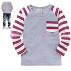 เสื้อแขนยาวแขนลายขวาง-สีแดงขาว-(5size/pack)