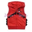 เสื้อแจ็กเก็ตแขนกุดไดโนเสาร์-สีแดง--(6size/pack)