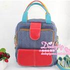 กระเป๋าแฟชั่นยีนส์สะพายข้าง-สีแดง-(5-ใบ/pack)
