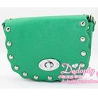 กระเป๋าสะพายข้างประดับหมุด-สีเขียว-(5-ใบ/pack)