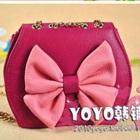 กระเป๋าสะพายข้างโบว์ใหญ่-สีชมพู-(5-ใบ/pack)