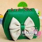 กระเป๋าสะพายข้างโบว์ใหญ่-สีเขียว-(5-ใบ/pack)