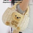 กระเป๋าสานหมีน้อย-สีเบจ-(5-ใบ/pack)