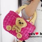กระเป๋าสานหมีน้อย-สีชมพู-(5-ใบ/pack)