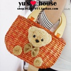 กระเป๋าสานหมีน้อย-สีส้ม-(5-ใบ/pack)
