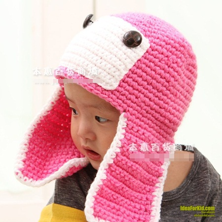 หมวกถักการ์ตูน สีชมพู (5 ใบ/แพ็ค)