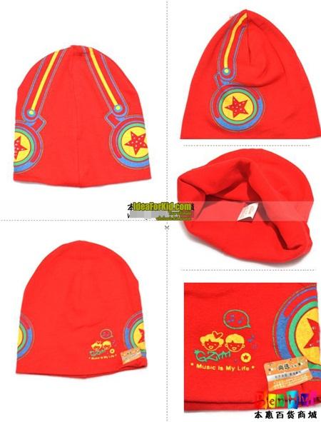 หมวกทรงสูง star headphone cap สีแดง  (5 ใบ/แพ็ค)