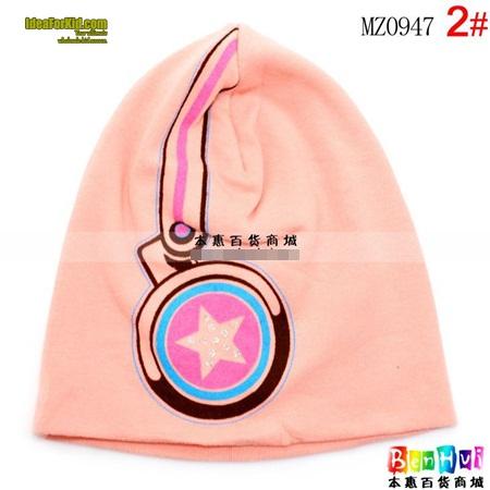 หมวกทรงสูง star headphone cap สีชมพู  (5 ใบ/แพ็ค)