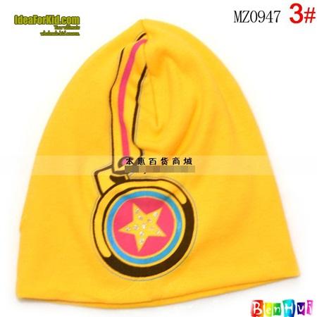หมวกทรงสูง star headphone cap สีเหลือง (5 ใบ/แพ็ค)