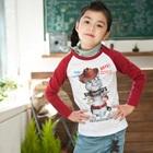 เสื้อยืดแขนยาวแมวเหมียว-สีแดง-(4size/pack)
