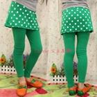 กางเกงเลกกิ้งกระโปรงลายจุด-สีเขียว-(5-ตัว-/pack)