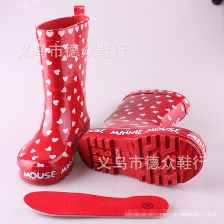 รองเท้าบู๊ทกันน้ำ Minnie Mouse สีแดง (5 คู่/แพ็ค)