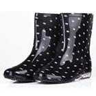 รองเท้าบู๊ทกันน้ำลายจุด-สีดำ-(5-คู่/แพ็ค)