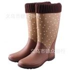 รองเท้าบู๊ทกันน้ำลายจุด-สีน้ำตาล-(5-คู่/แพ็ค)