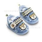 รองเท้าผ้าเด็กหมีน้อย-สีฟ้า-(3-คู่/แพ็ค)