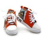 รองเท้าผ้าใบสกรีนลาย-สีส้ม-(6-คู่/แพ็ค)