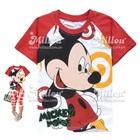 เสื้อยืดแขนสั้น-Mickey-Mouse-สีแดงขาว-(6size/pack)