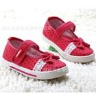 รองเท้าเด็กลายจุดประดับโบว์-สีแดงแตงโม(6-คู่/แพ็ค)