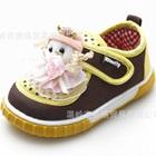 รองเท้าผ้าใบตุ๊กตาน่ารัก-สีน้ำตาล-(6-คู่/แพ็ค)
