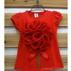 เสื้อแขนสั้นดอกไม้บาน-สีแดง-(5size/pack)
