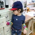 เสื้อแขนยาวสกรีนลาย-สีน้ำเงิน-(4size/pack)