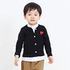 คาร์ดิแกนแขนยาวหัวใจแดง-สีดำ-(4size/pack)