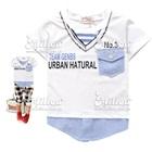 เสื้อยืดแขนสั้นแฟชั่นเด็ก-สีขาว(5size/pack)