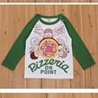 เสื้อแขนยาว-Pizzeria-แขนสีเขียว-(5size/pack)
