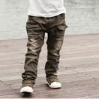 กางเกงขายาวกระเป๋าข้าง-สีเขียวเข้ม-(4size/pack)