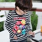 เสื้อยืดแขนยาวลายขวาง-Peach-สีขาวดำ-(4size/pack)