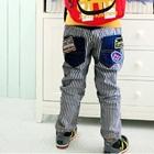 กางเกงยีนส์ขายาวลายทางสีขาวน้ำเงิน-(4-ตัว/pack)