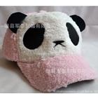 หมวกแก้ปแบบขนหมีแพนด้า-สีชมพู--(5-ใบ/แพ็ค)