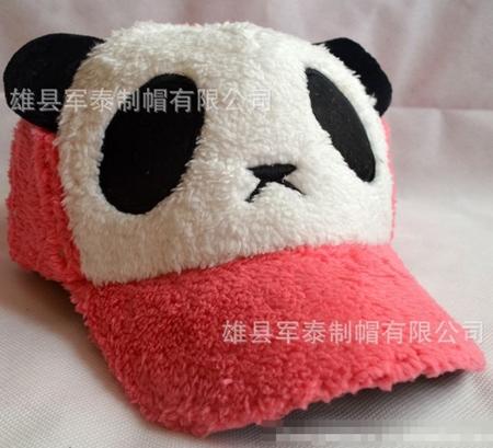 หมวกแก้ปแบบขนหมีแพนด้า สีส้มแดง  (5 ใบ/แพ็ค)