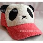 หมวกแก้ปแบบขนหมีแพนด้า-สีส้มแดง--(5-ใบ/แพ็ค)
