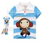 เสื้อโปโลแขนสั้น-ลายลิงน้อย-สีฟ้าขาว(5size/pack)