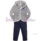 ชุดเสื้อกางเกงลายขวาง-สีน้ำเงินเทา--(5size/pack)