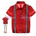 เสื้อเชิ้ต-Mickey-Mouse-คาดลายหมากรุก-สีแดง-(3size/pack)