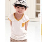 เสื้อยืดแขนสั้นขอบสีเหลือง-(5size/pack)