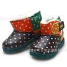รองเท้าผ้าใบสตรอเบอร์รี่-ลายจุด-สีน้ำตาล-(6-คู่/แพ็ค)