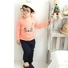 เซ็ตเสื้อกางเกงแมวเมี๊ยวตากลม-สีส้ม-(10-ตัว/pack)