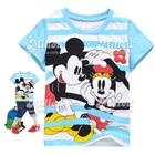 เสื้อยืดแขนสั้น-Mickey-Mouse-สีฟ้าขาว-(6size/pack)