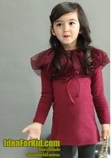 เดรสแขนยาว ไหล่ป่องเกาหลี สีแดง (5size/pack)