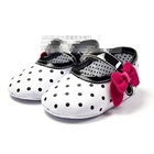 รองเท้าเด็กคุณหนูลายจุดขาวดำ--(6-คู่/แพ็ค)