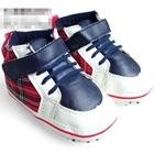 รองเท้าผ้าใบเด็กลายสก๊อต-สีแดง--(6-คู่/แพ็ค)