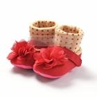 รองเท้าเด็กดอกไม้สีแดง-(6-คู่/แพ็ค)