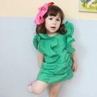 เดรสเจ้าหญิงแขนกว้าง-Vintage-สีเขียว(5size/pack)